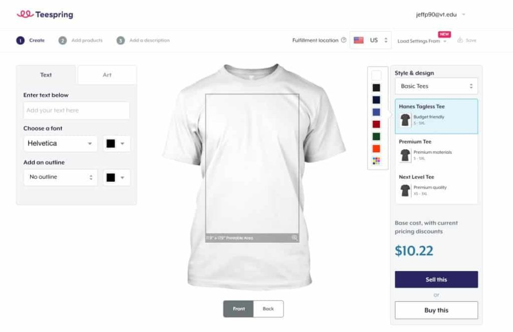 teespring create and sell t shirts and make money