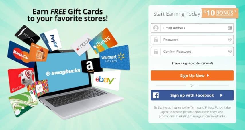swagbucks homepage gift card offer