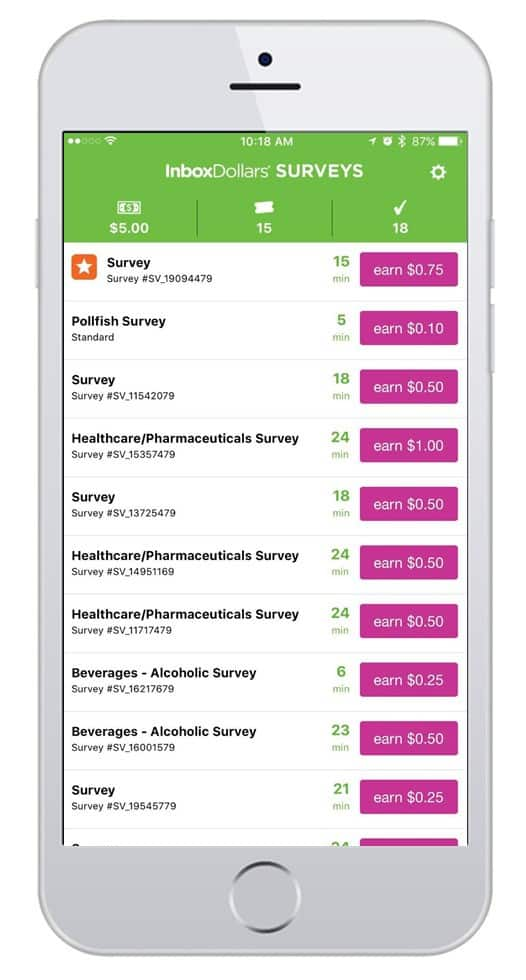inbox dollars survey app screenshot