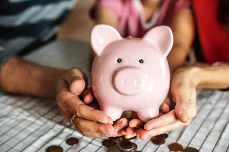 Person Holding Piggy Bank with Emergency Fund
