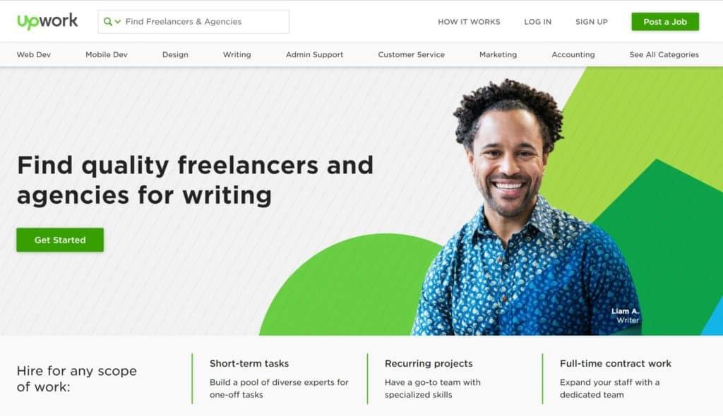 freelance writing category of upwork