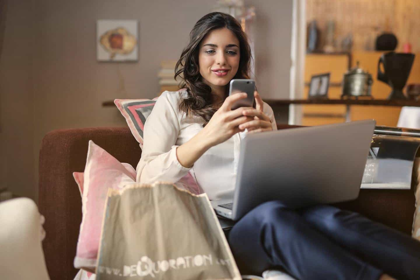 woman shopping on her smartphone