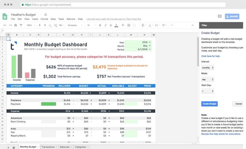 Tiller Review: Monthly Budget Spreadsheet