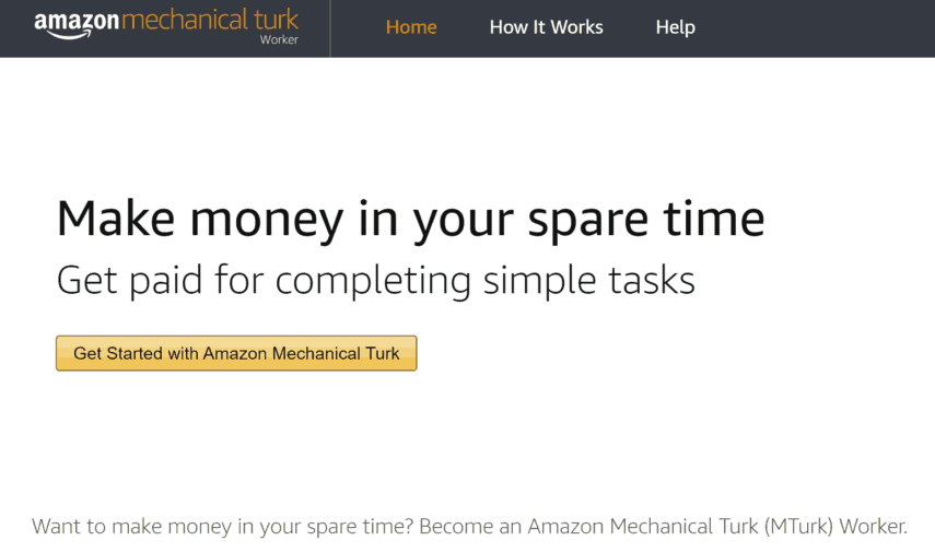 amazon mechanical turk (mturk) homepage