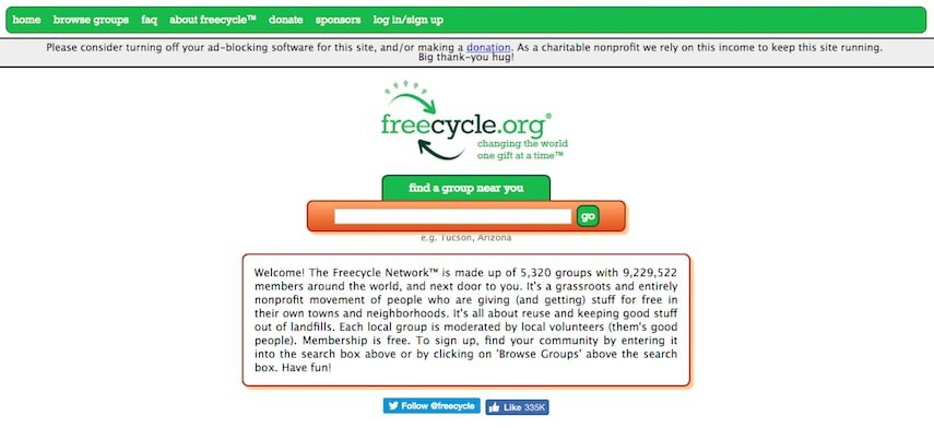 freecycle network homepage