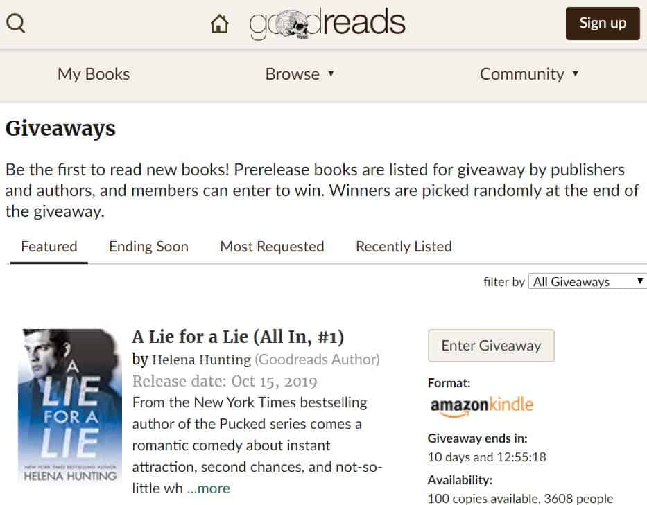 goodreads giveaways section on their website
