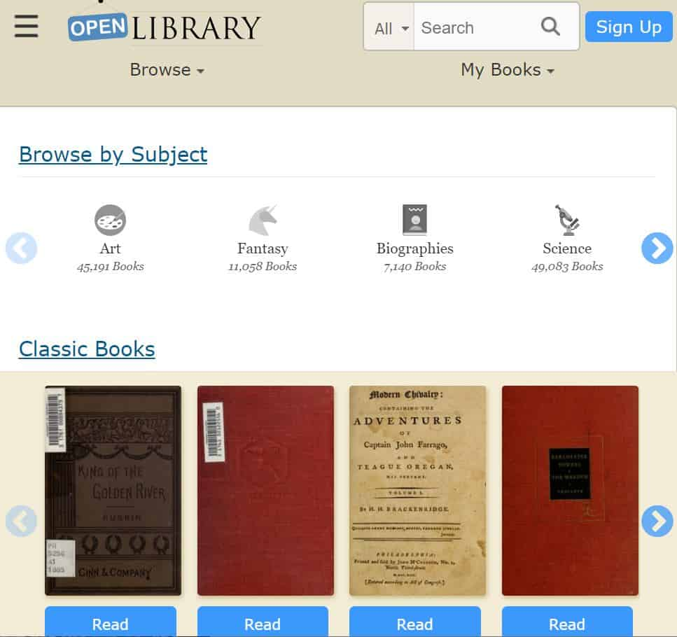 open library homepage