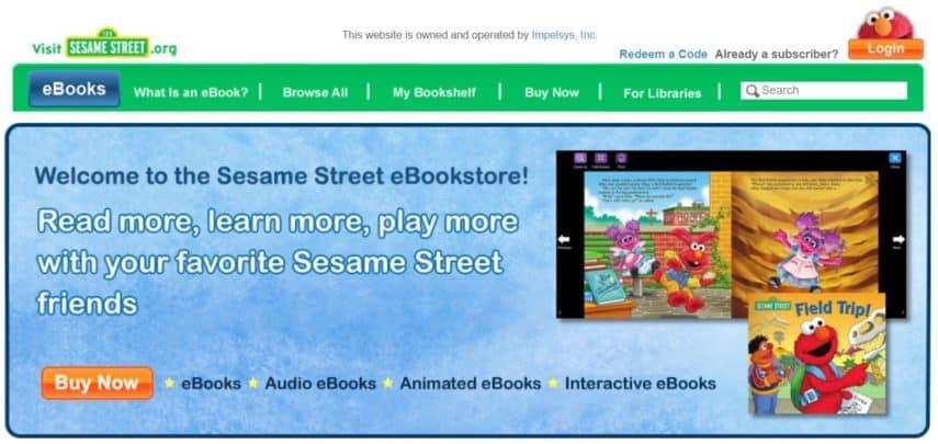 Sesame Street eBookstore homepage