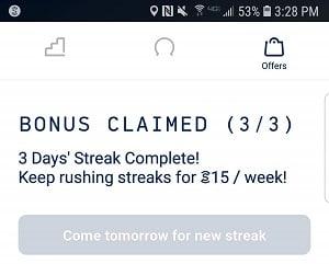 Sweatcoin offers daily bonus streaks