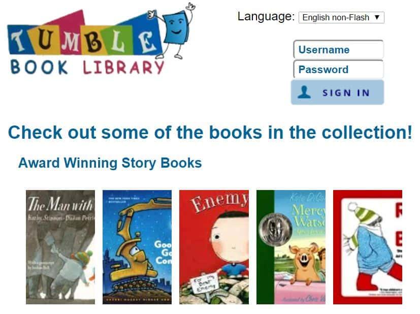 TumbleBookLibrary homepage