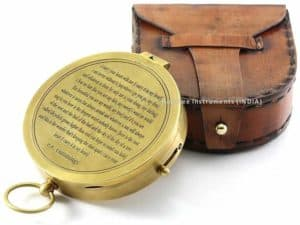 Vintage Brass Compass with Handmade Leather