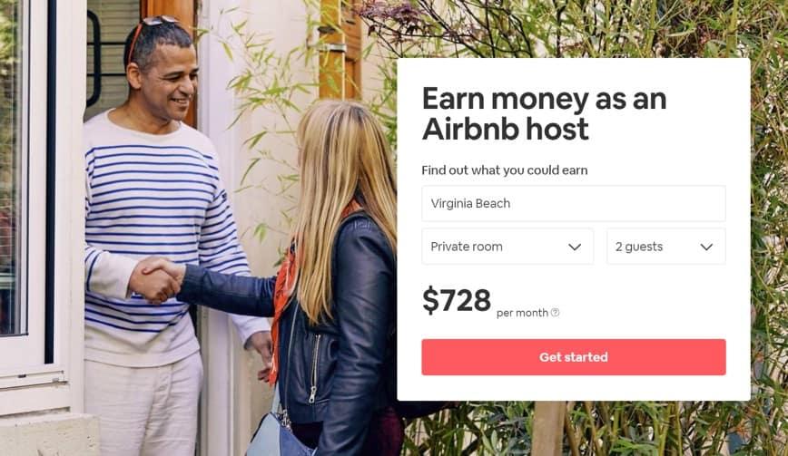 screenshot delle entrate di airbnb