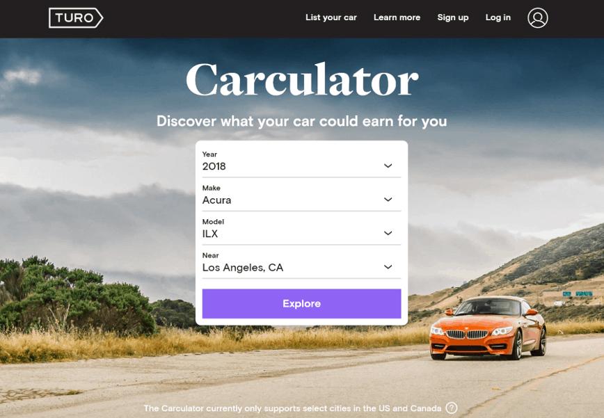 calcolatrice di car sharing turo