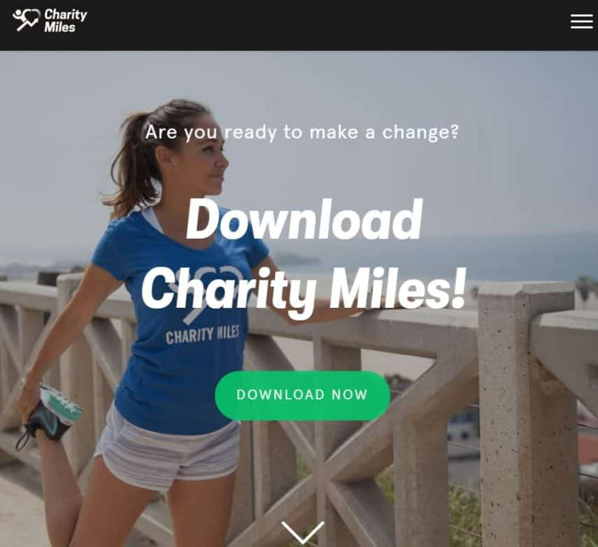 Charity Miles homepage