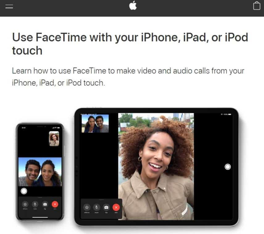 FaceTime homepage