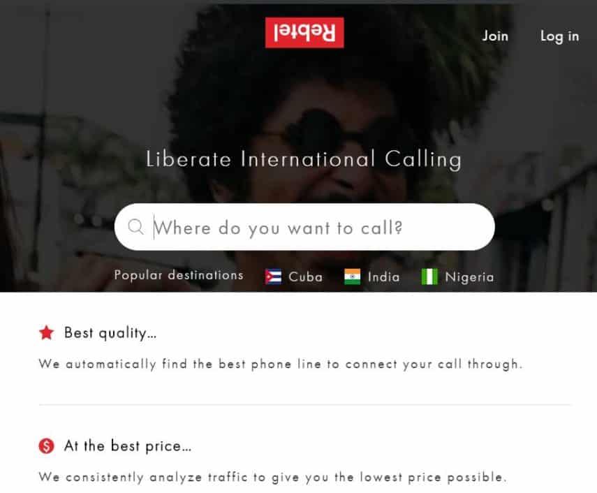 Rebtel homepage