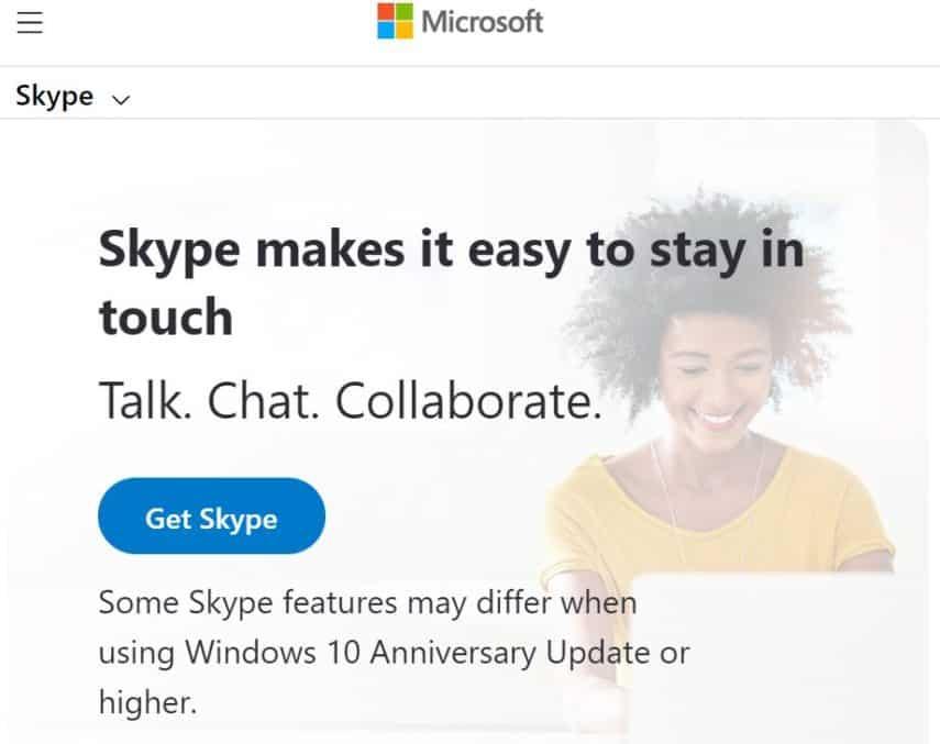 Skype app homepage