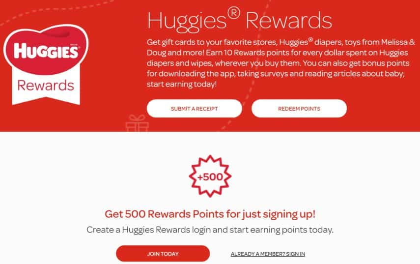 Huggies Rewards website