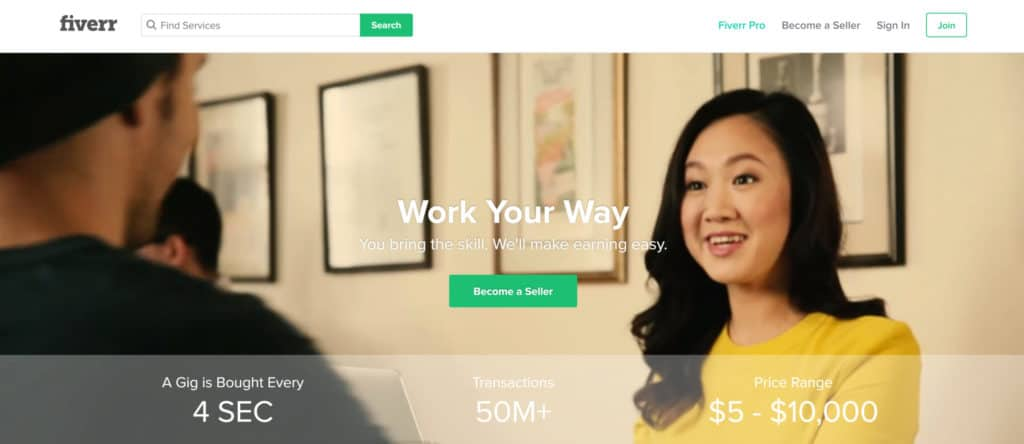 sell your freelance services on fiverr