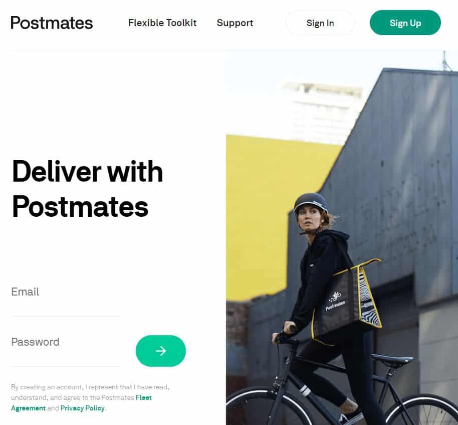 Postmates homepage screenshot
