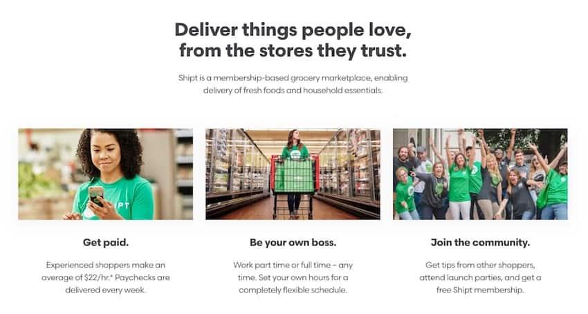ảnh chụp màn hình lợi ích của Shipt Shopper
