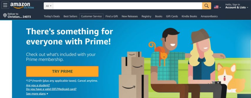 amazon prime homepage