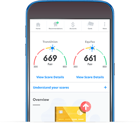 Credit Karma offers free credit scores through their app or web-based application