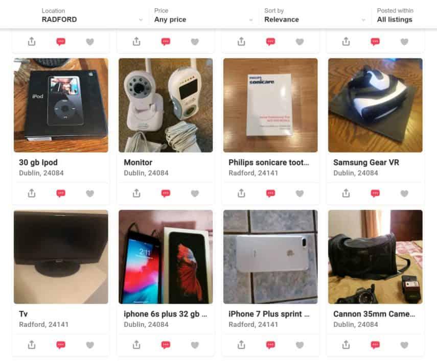 Tìm một loạt các thiết bị điện tử có sẵn để bán trong ứng dụng Letgo.
