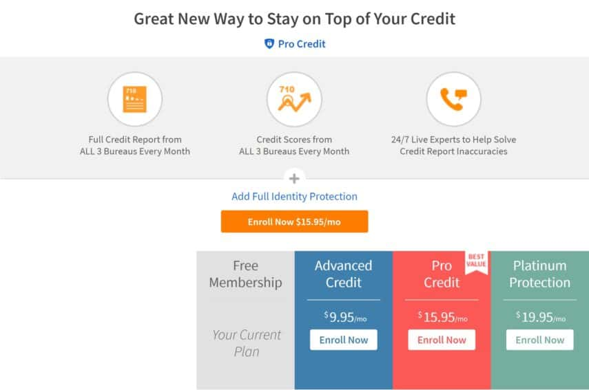 Pro Credit by Credit Sesame offers 3 pricing tiers