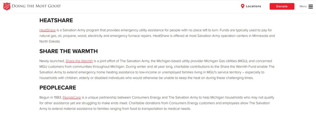 salvation army utility assistance program