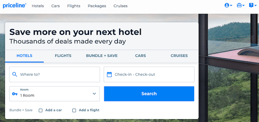 Priceline homepage