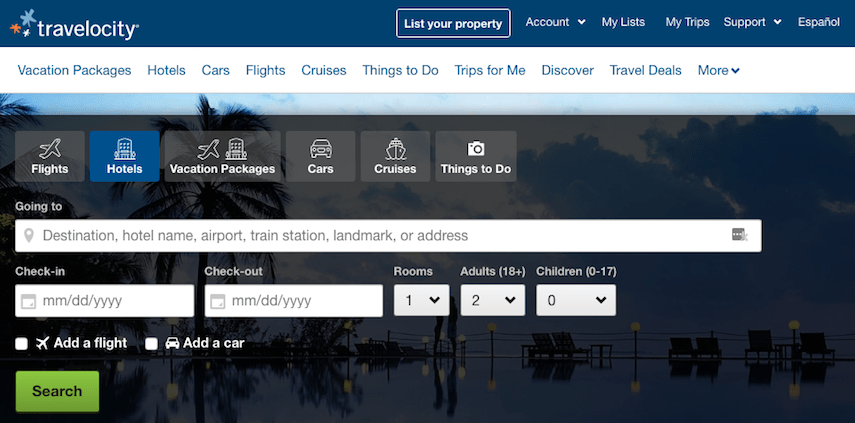 Travelocity homepage