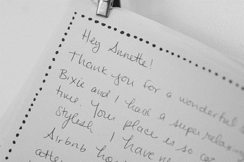 airbnb host thank you journal entry