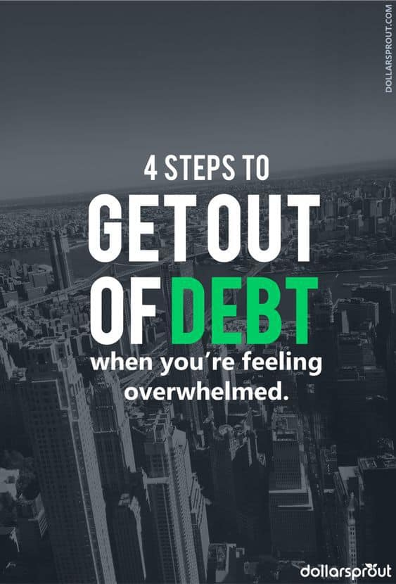 Are you desperate to get out of debt? Want to pay off debt fast? Well now you can. Follow these 4 easy steps to get out of debt fast even on low income. #debt #debtfree #dollarsprout