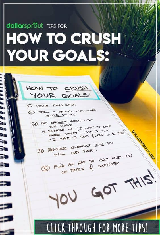 Want to learn how to set goals and crush them? Want to be a generally more motivated and productive person? Try these 5 goal setting activities that'll have you 88% more likely to set goals and crush them on the first try! #goals #hustle #dollarsprout