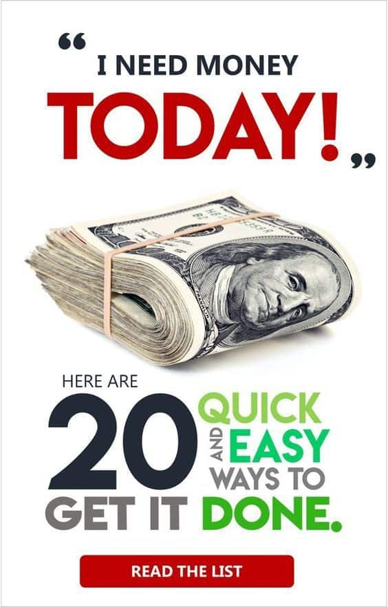 Need money today? Yesterday perhaps? Here's 20 QUICK ways to make money when you need to make money FAST! You got this. #makemoney #makemoneyfromhome #makemoneyonline