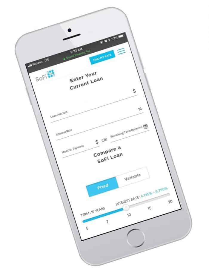 Sofi student loan screenshot of savings calculator