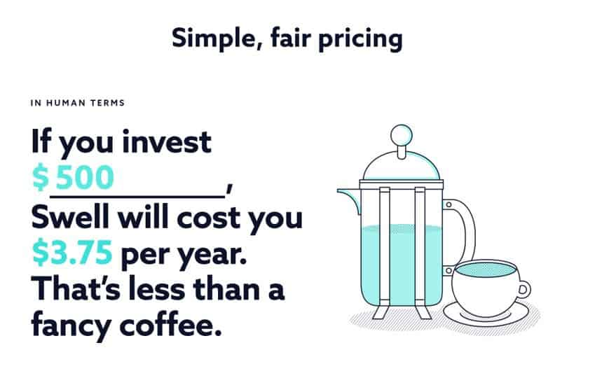 Swell Investing fees: charges 0.75% per year to manage your investments